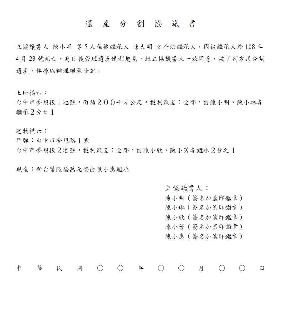遺產分割協議書範例